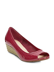 Cole Haan Air Tali Patent Leather Espadrille Wedges Raspberry