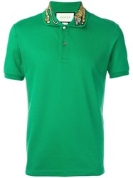 Gucci Tiger Embroidered Polo Shirt Green