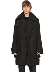 Juun.J Wool And Cashmere Coat W Faux Shearling Black