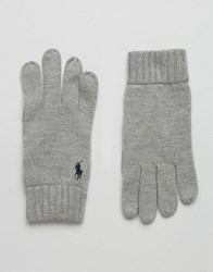 Polo Ralph Lauren Touch Gloves In Merino Wool Grey
