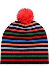 Chinti And Parker Pompom Embellished Striped Wool Cashmere Blend Beanie Multicolor