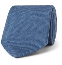 Drakes 8Cm Wool Silk And Cashmere Blend Tie Blue