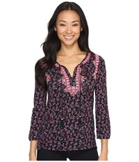 Lucky Brand Embroidered Boho Top Black Multi Women's Clothing