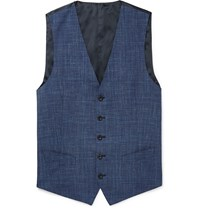 Thom Sweeney Blue Checked Wool Silk And Linen Blend Waistcoat Blue