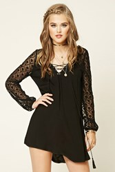 Forever 21 Lace Up Swing Dress Black