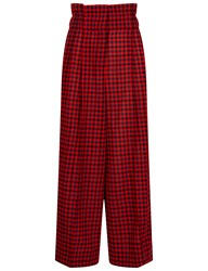 Sonia Rykiel Red And Navy Gingham Paperbag Trousers