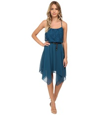 Gabriella Rocha Lace Chiffon Belted Hanky Hem Dress Teal Women's Dress Blue