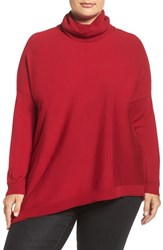 Eileen Fisher Plus Size Women's Merino Jersey Asymmetrical Turtleneck China Red