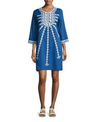 Figue Sophie Embroidered Shift Dress Blue