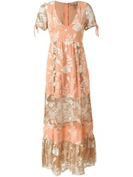 For Love And Lemons Floral Contrast Panel Dress Yellow And Orange