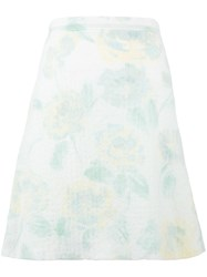 Celine Faded Floral Print Skirt White