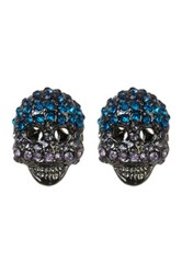Betsey Johnson Crystal Skull Stud Earrings Blue