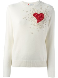 Valentino Embellished Heart Sweater White