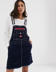 Dickies Girl Overall Dress With Logo Taping Blue