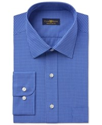 Club Room Estate Men's Wrinkle Resistant Blue Box Check Print Dress Shirt Only At Macy's