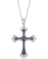 Macy's Amethyst 5 8 Ct. T.W. And Diamond 1 10 Ct. T.W. Cross Pendant Necklace In Sterling Silver