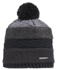 Sean John Men's Mixed Media Pom Beanie Hat Black