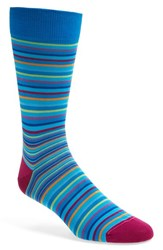 Men's Bugatchi Stripe Socks Blue Aqua
