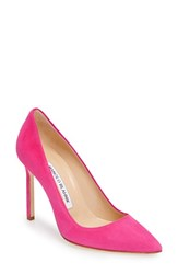 Manolo Blahnik Women's 'Bb' Pointy Toe Pump Pink Suede