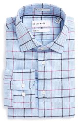 Calibrate Men's Big And Tall Trim Fit Non Iron Plaid Dress Shirt Purple Vinter