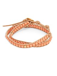 Chan Luu 4Mm Salmon Freshwater Cultured Potato Pearls 18K Gold Plated Sterling Silver Leather Bracelet Salmon Beige