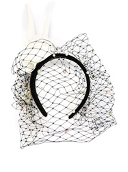Piers Atkinson Flower And Feathers Veil Headband Black