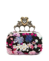 Alexander Mcqueen Flocked Floral Hearth Box Clutch Bag Multi Pattern