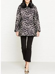 Marc Jacobs Snow Leopard Cropped Jacket With Fur Collar Ivory