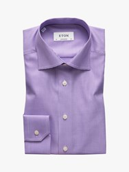 Eton Micro Dogtooth Twill Shirt Purple