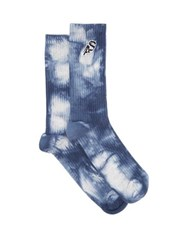 Acne Studios Logo Embroidered Tie Dye Cotton Blend Socks Blue Multi