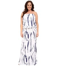Culture Phit Plus Size Riena Maxi Dress White Navy Tie Dye Women's Dress