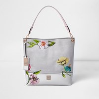 River Island Womens Grey Floral Embroidered Slouch Bag