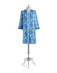 Miss Elaine Jaquard Patterned Nightgown Navy Ivory