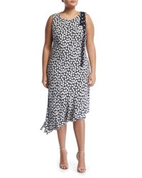 Taylor Plus Shoulder Bow Floral Print Dress Black White