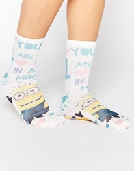 Asos Ankle Socks With 'One In A Minion' Print Multi