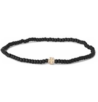 Luis Morais Gold Maltese Cross And Glass Bead Bracelet Black