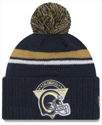 New Era Los Angeles Rams Diamond Stacker Knit Hat Navy Gold White