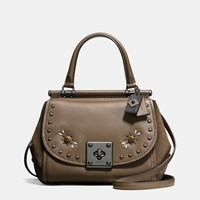 Coach Western Rivets Drifter Top Handle In Glovetanned Leather Dk Fatigue