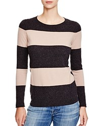 C By Bloomingdale's Striped Cashmere Sweater Dark Charcoal Camel