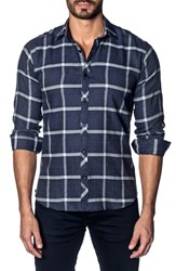 Jared Lang Trim Fit Grid Sport Shirt Dark Navy Plaid