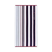 Tommy Hilfiger Blue And Red Striped Beach Towel
