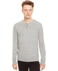 Kenneth Cole Reaction Marled Slub Henley Sweater Light Grey Heather
