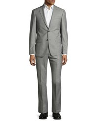 Michael Kors Sharkskin Two Button Wool Two Piece Suit Gray