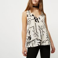 River Island Womens Petite Beige Grafitti Print Cami Top