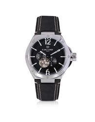 Lancaster Men's Watches Space Shuttle Meccanico Stainless Steel And Black Nubuck Men's Watch