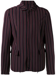 Wooyoungmi Striped Jacket Men Elastodiene Polyester Rayon Wool 46 Red