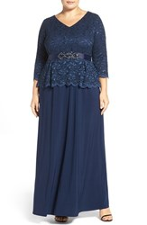Alex Evenings Plus Size Women's Mock Two Piece Lace And Jersey Gown Navy