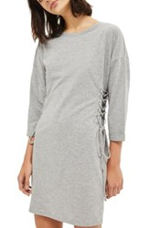Topshop Women's Lace Up Side Tunic Dress Grey