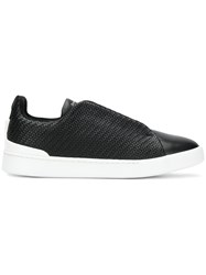 Ermenegildo Zegna Woven Slip On Sneakers Black