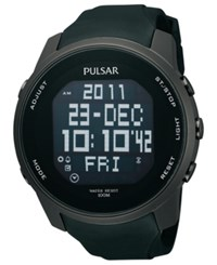 Pulsar Watch Men's Digital Black Polyurethane Strap 47Mm Pq2011